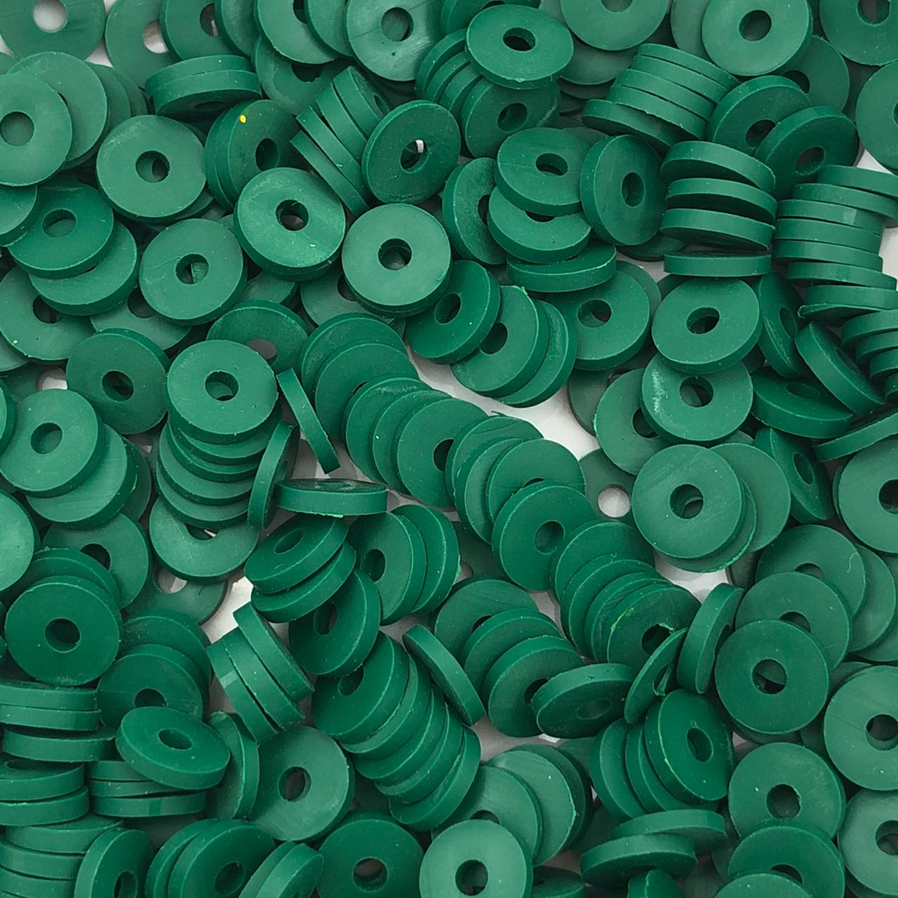 DF26 - Disco Fimo Emborrachado Verde Floresta 6mm - 01Fio