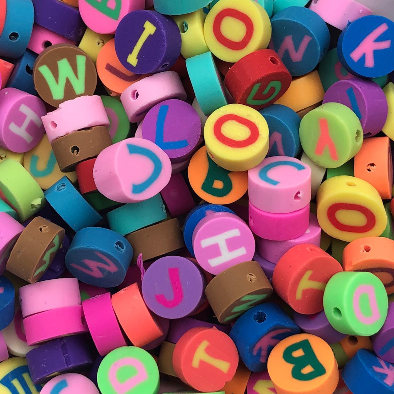 DF51 - Fimo Emborrachado Letras Variadas - 20Unids