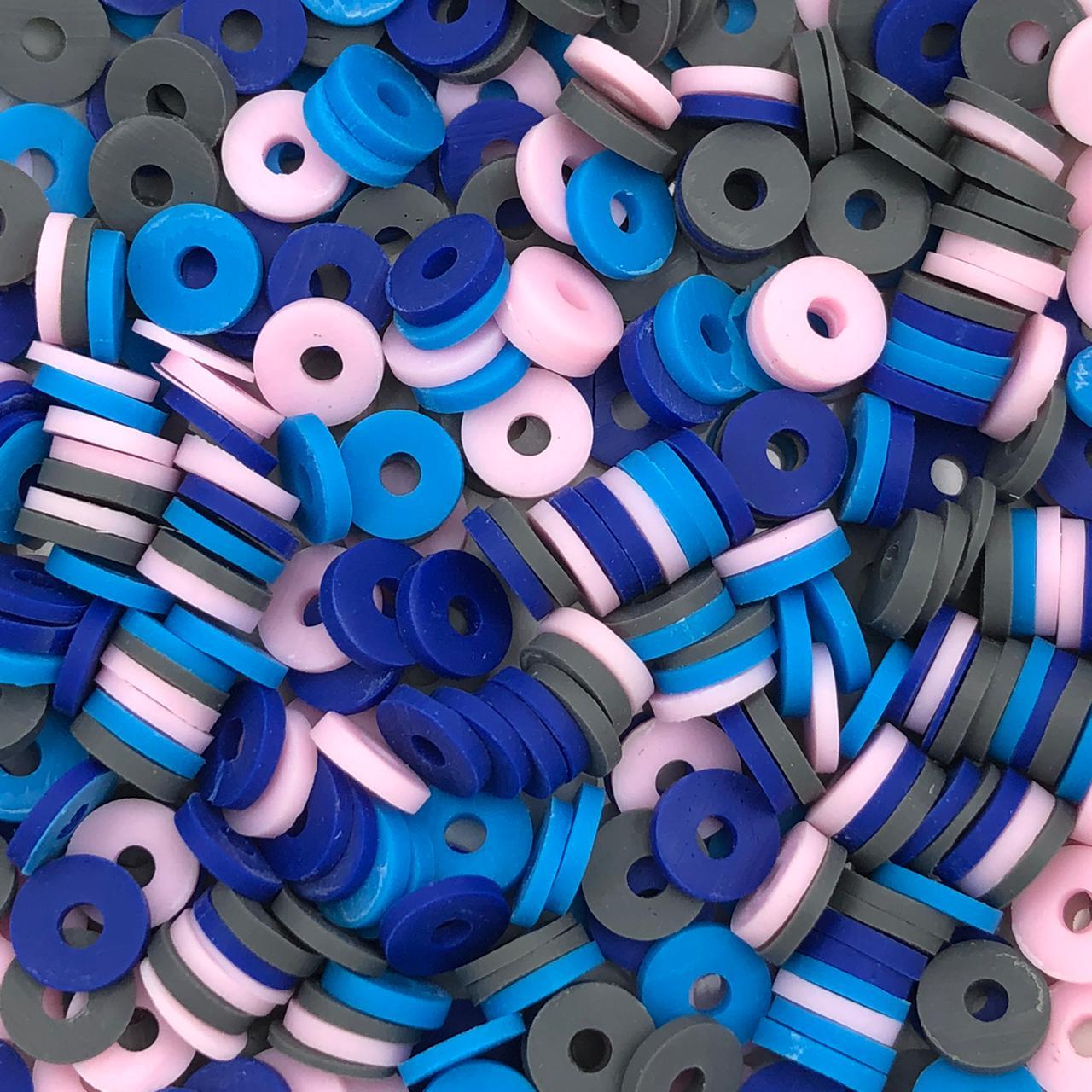 DF55 - Disco Fimo Emborrachado Mix Colorido Azul 6mm - 01Fio