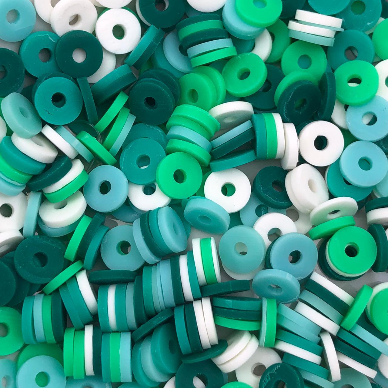 DF56 - Disco Fimo Emborrachado Mix Colorido Verde 6mm - 01Fio