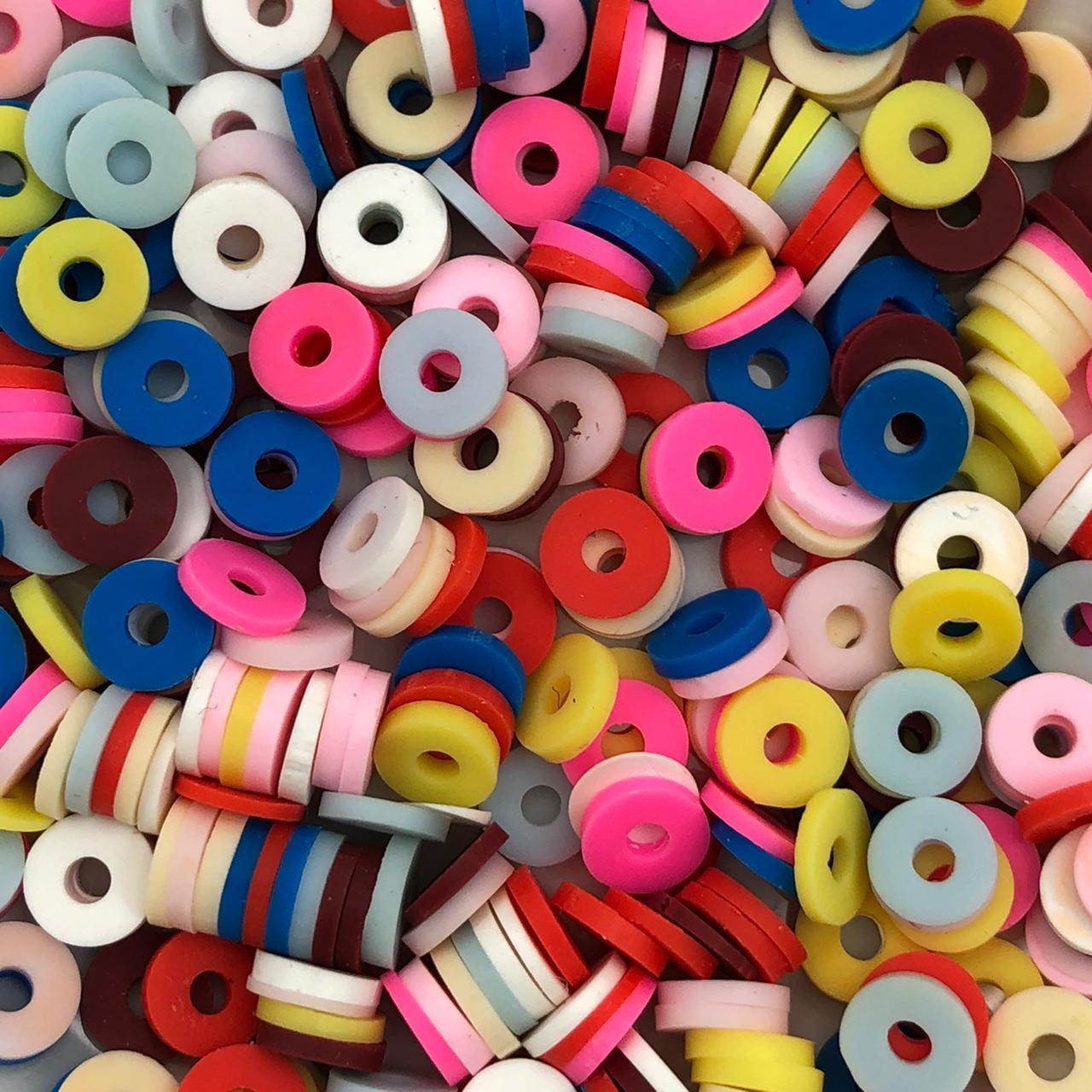 DF57 - Disco Fimo Emborrachado Mix Colorido 6mm - 01Fio
