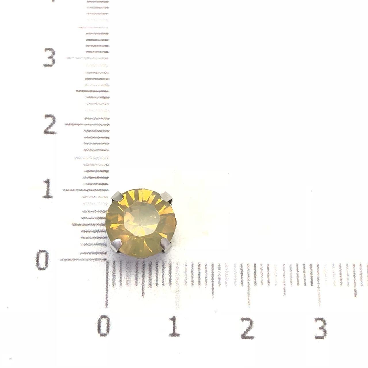 EN02 - Engrampado Resina Bege Opal Banhado Cor Prata - 06Unids