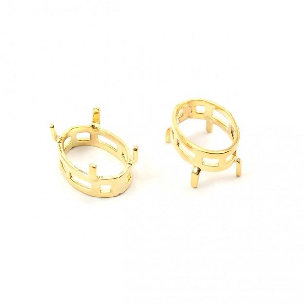 EN21 - Engrampado Galeria Oval 10x14 Banhado Cor Dourado - 2Unids