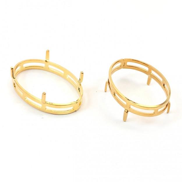 EN27 - Engrampado Galeria Oval 18x25 Banhado Cor Dourado - 2Unids