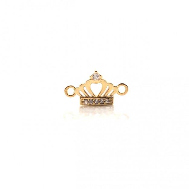 ETM294 - Entremeio Coroa com Zircônia Banhado Cor Dourado - 1Unid