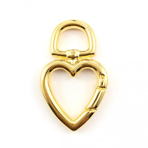 ETM372 - Entremeio Fecho Fake Coração Banhado Cor Dourado - 1Unid