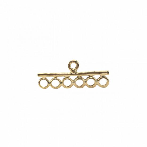 ETM474 - Entremeio Cabide 6 Saídas Banhado Cor Dourado - 02Unids