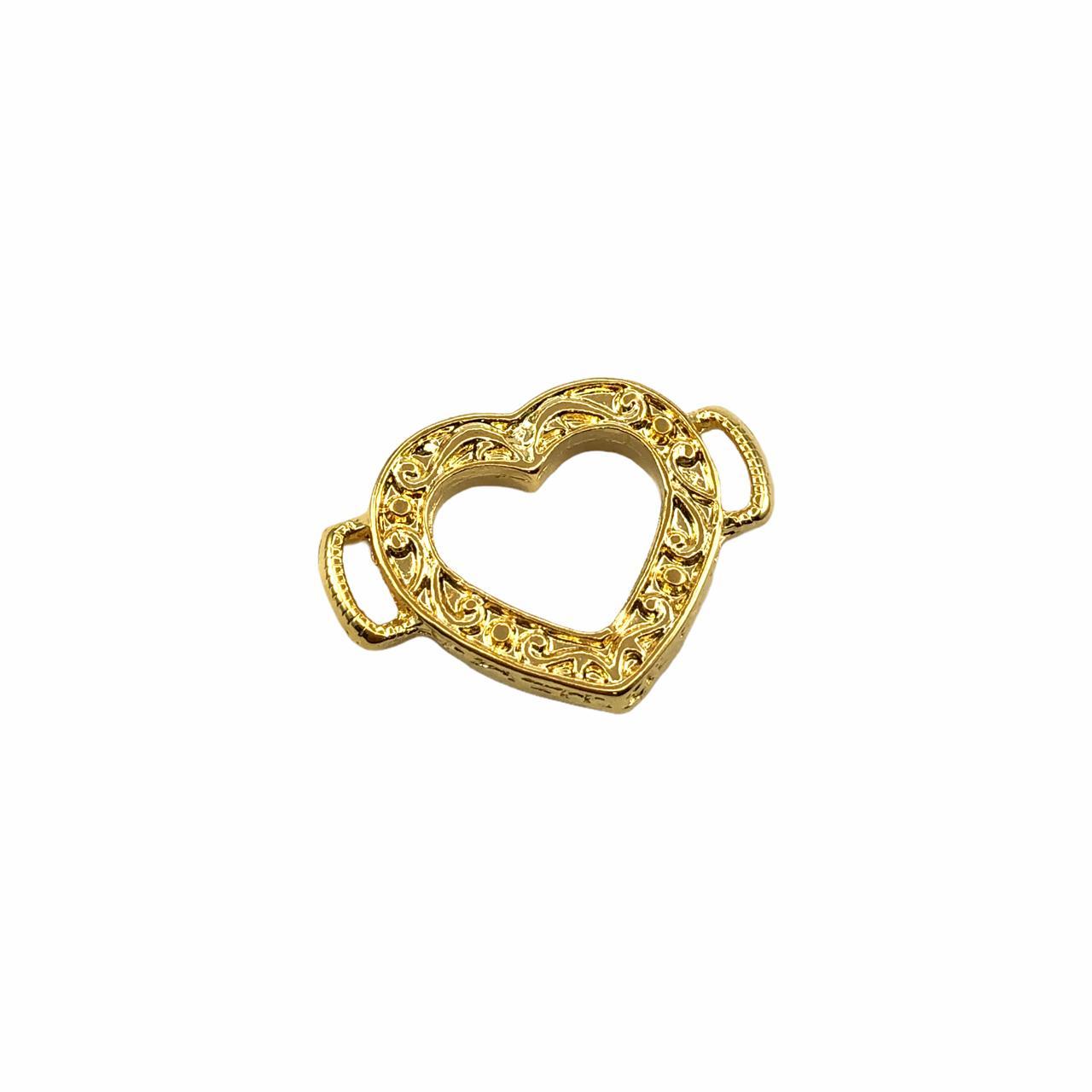 ETM529 - Entremeio Coração Banhado Cor Dourado - 1Unid
