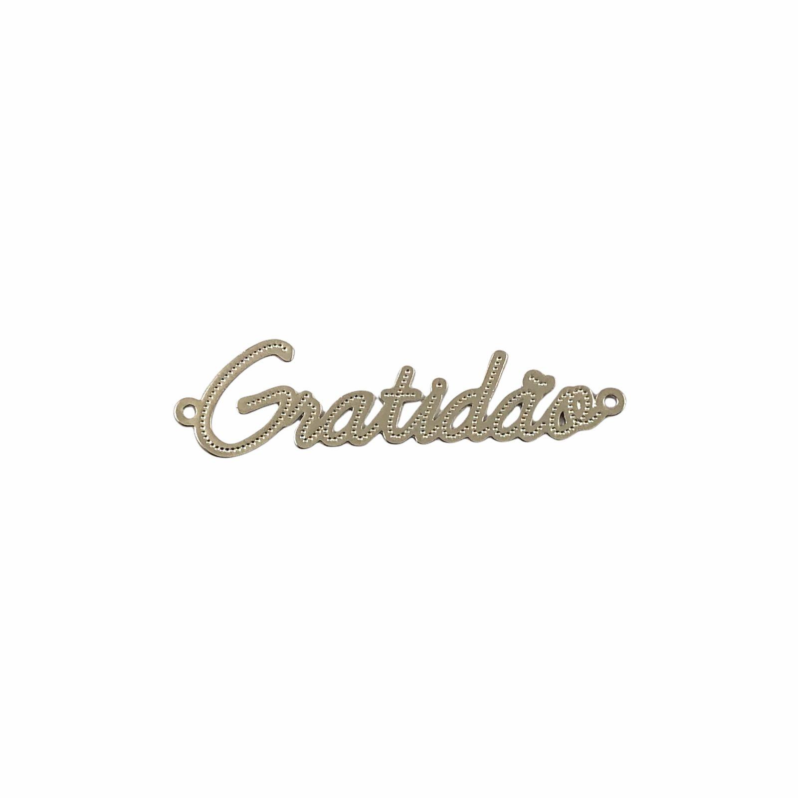 ETM576 - Entremeio Gratidão Banhado Cor Prata - 1Unid
