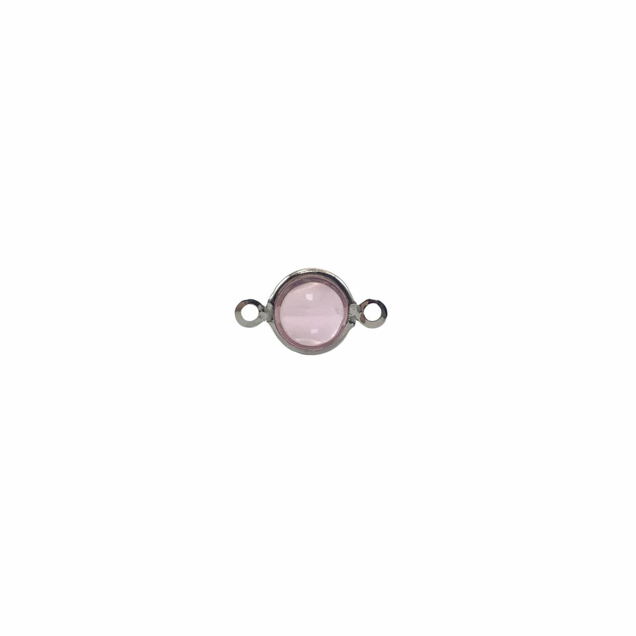 ETM578 - Entremeio De Vidro Light Rose 8mm Banhado Cor Prata - 4Unids