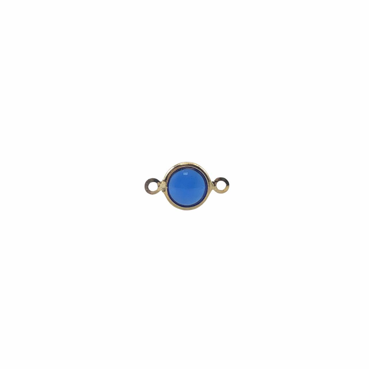 ETM580 - Entremeio De Vidro Sapphire 8mm Banhado Cor Dourado - 4Unids