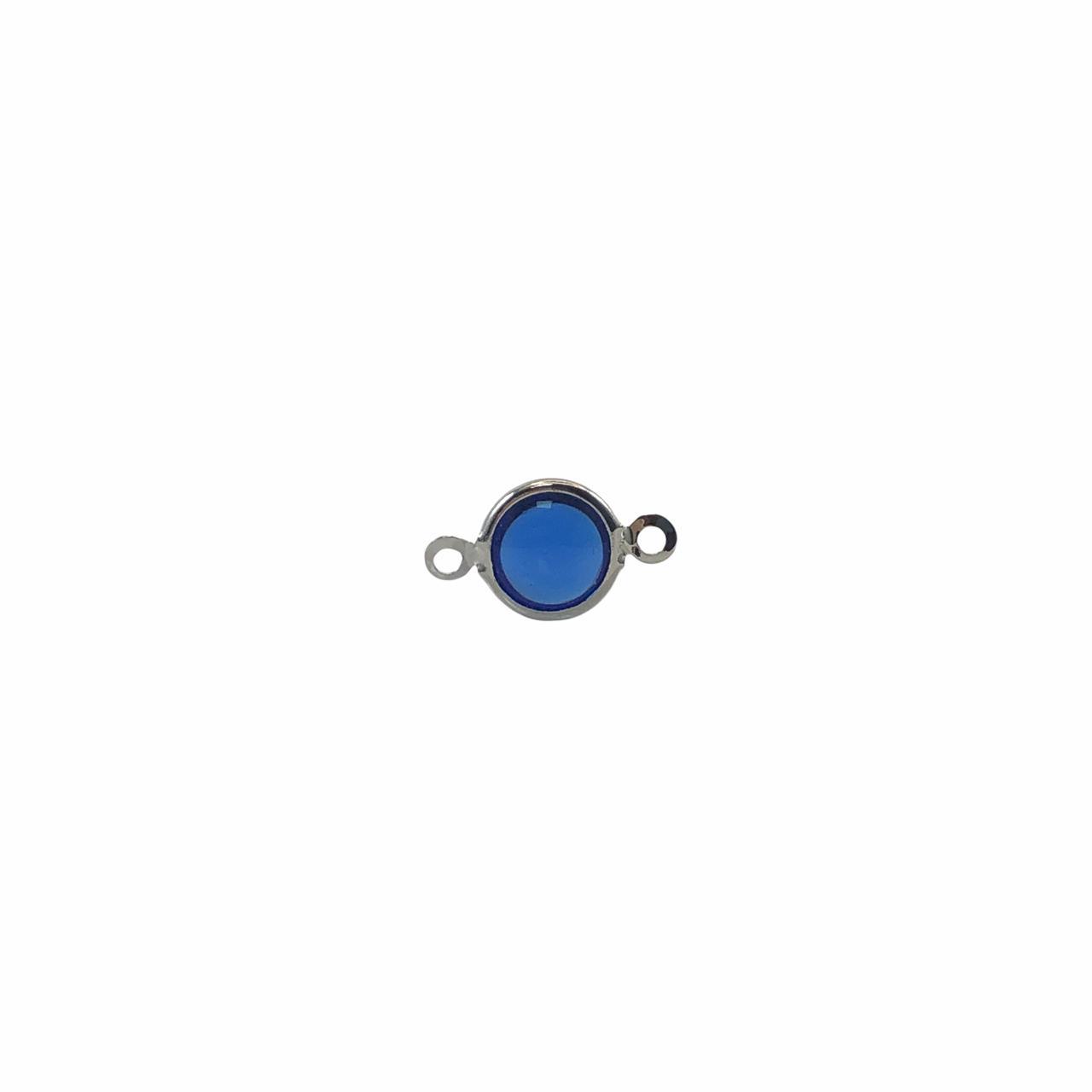 ETM581 - Entremeio De Vidro Sapphire 8mm Banhado Cor Prata - 4Unids