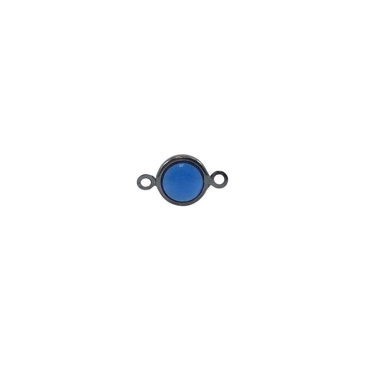 ETM582 - Entremeio De Vidro Sapphire 8mm Banhado Cor Grafite - 4Unids