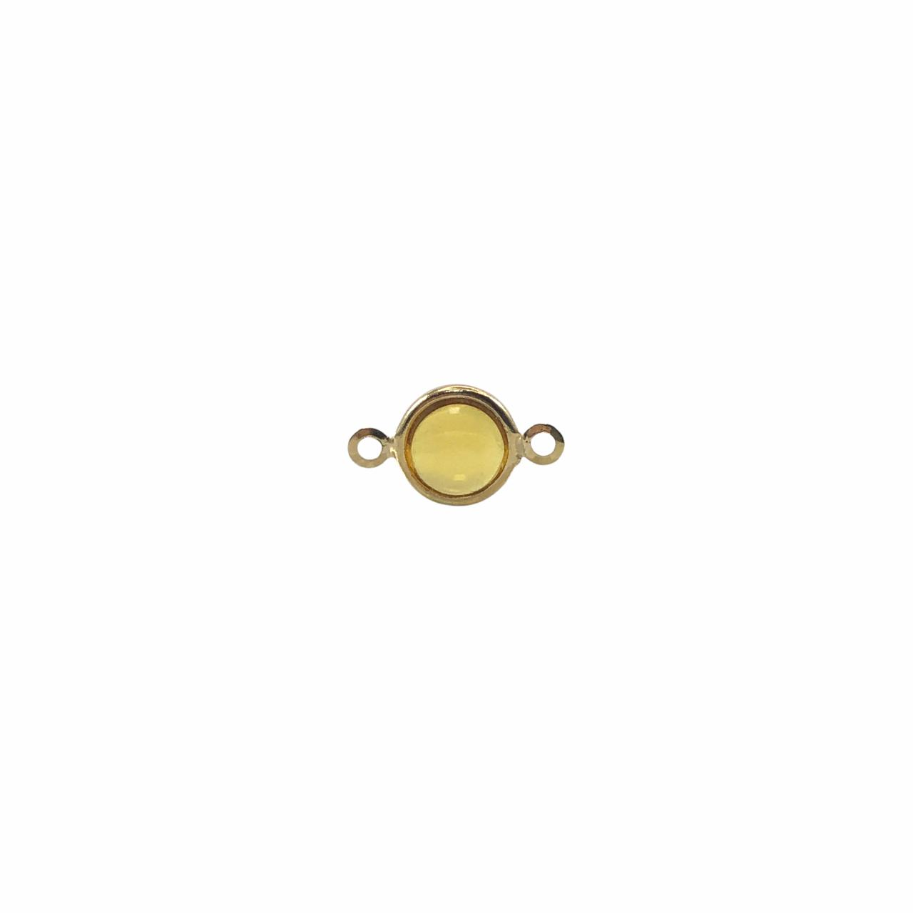 ETM583 - Entremeio De Vidro Citrine 8mm Banhado Cor Dourado - 4Unids