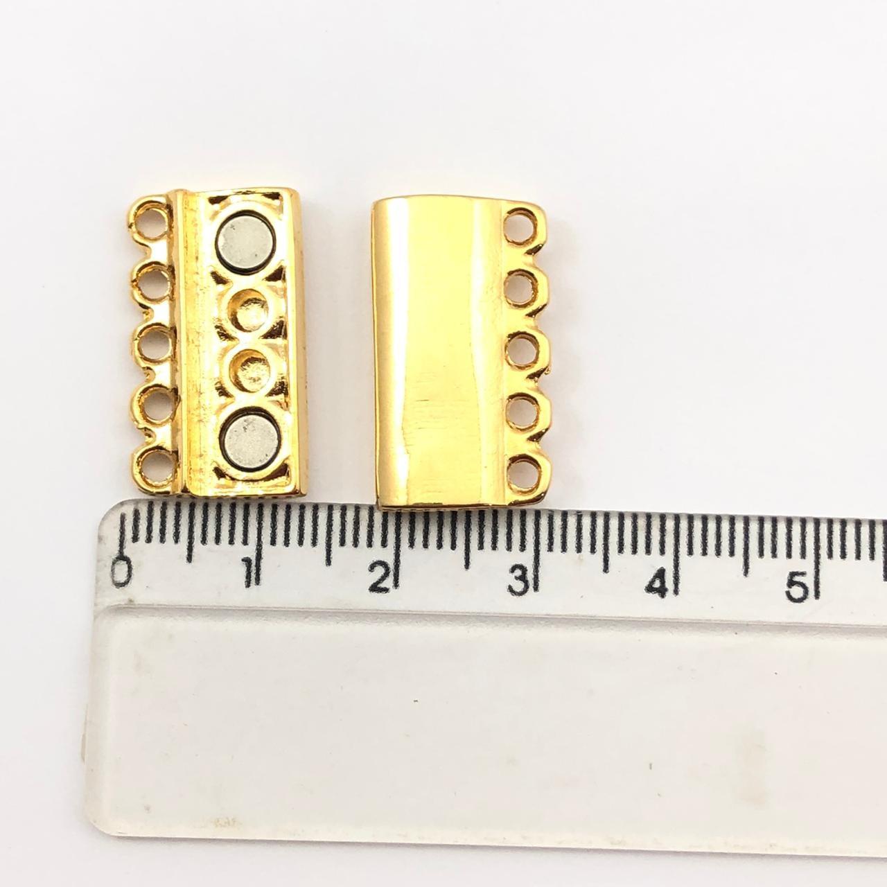 FC104 - Fecho Imã 5 Saídas Ouro - 01Conjunto