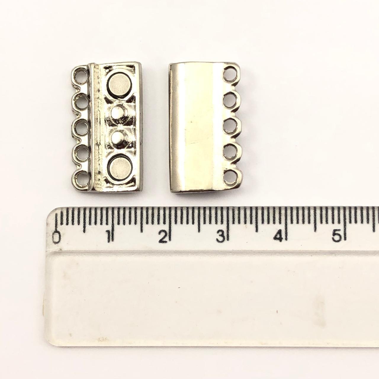 FC105 - Fecho Imã 5 Saídas Ródio Branco - 01Conjunto