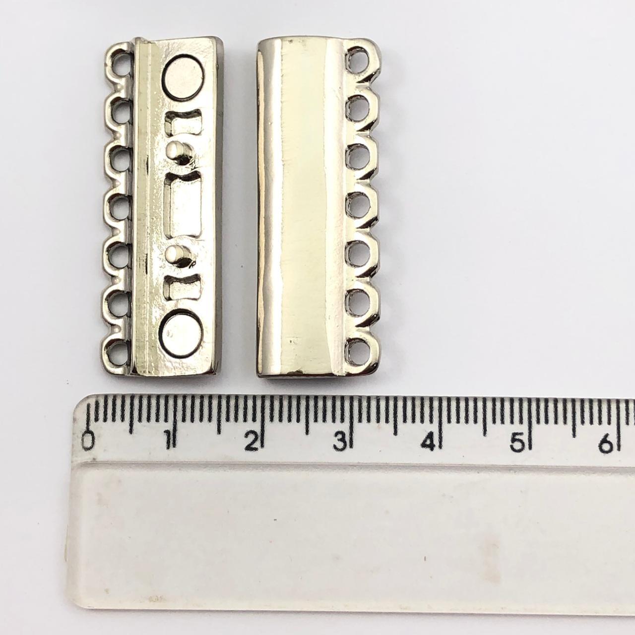 FC106 - Fecho Imã 7 Saídas Ródio Branco - 01Conjunto