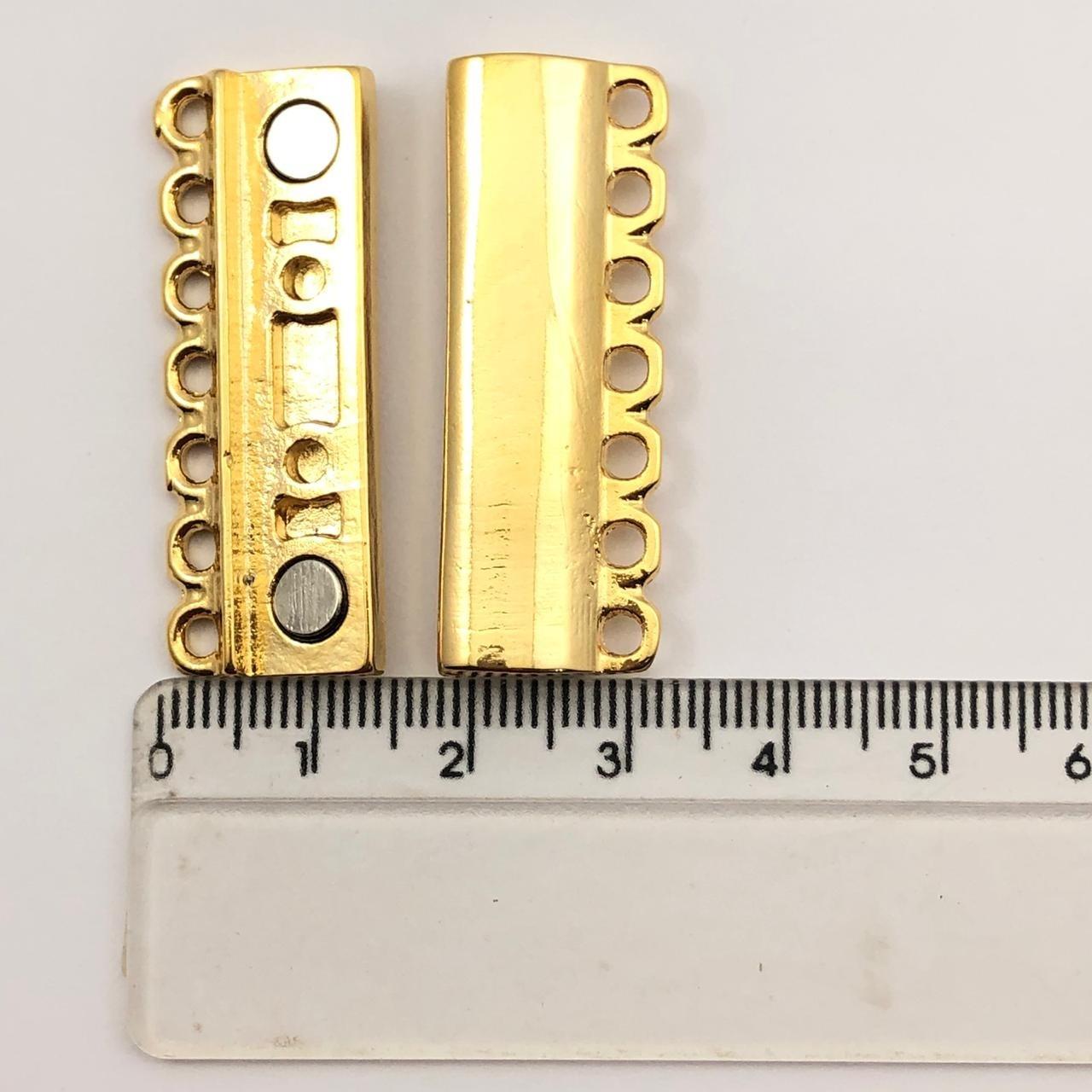 FC108 - Fecho Imã 7 Saídas Banhado Cor Dourado -  01Conjunto