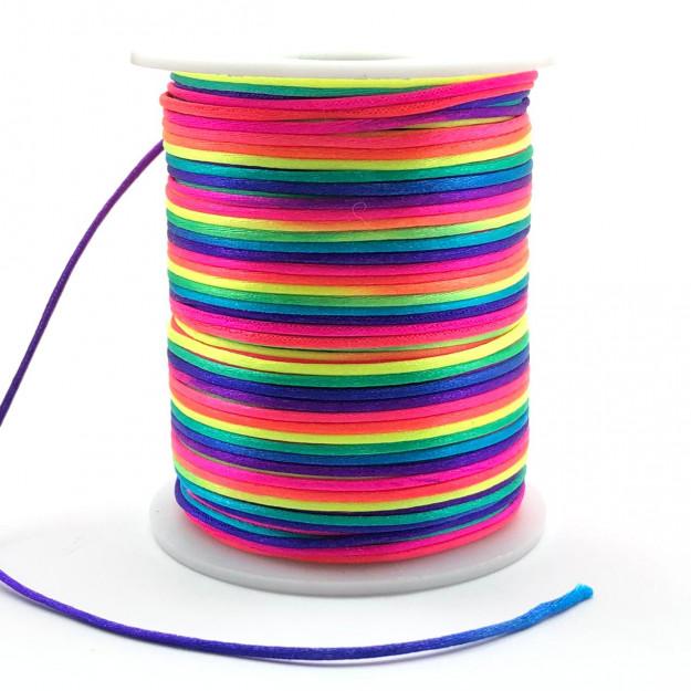 FS26 - Fio de Seda 1mm Tie Dye Neon - 5metros