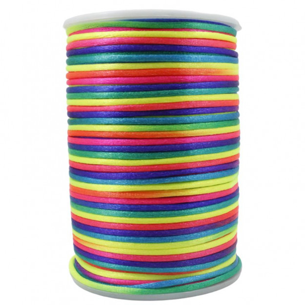FS27 - Fio de Seda 2mm Tie Dye Neon - 5metros