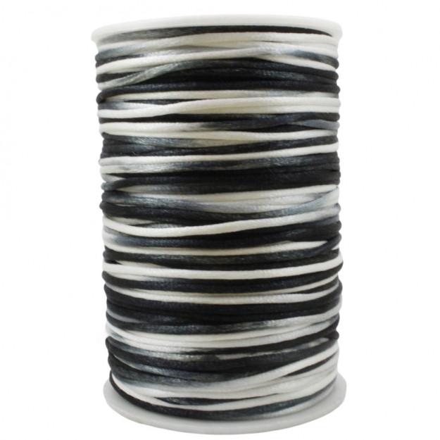 FS28 - Fio de Seda 2mm Tie Dye Preto - 5metros