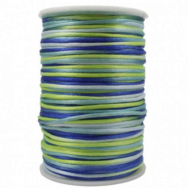 FS29 - Fio de Seda 2mm Tie Dye Verde - 5metros