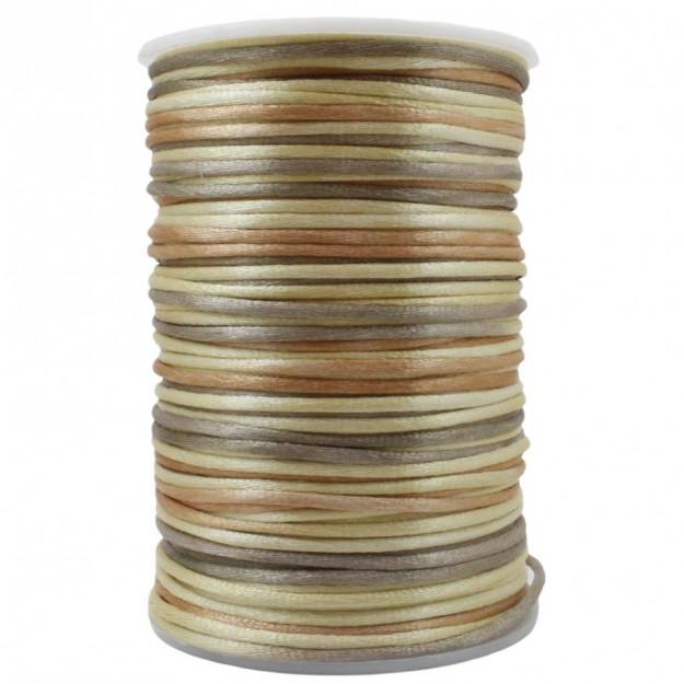 FS31 - Fio de Seda 2mm Tie Dye Marrom - 5metros