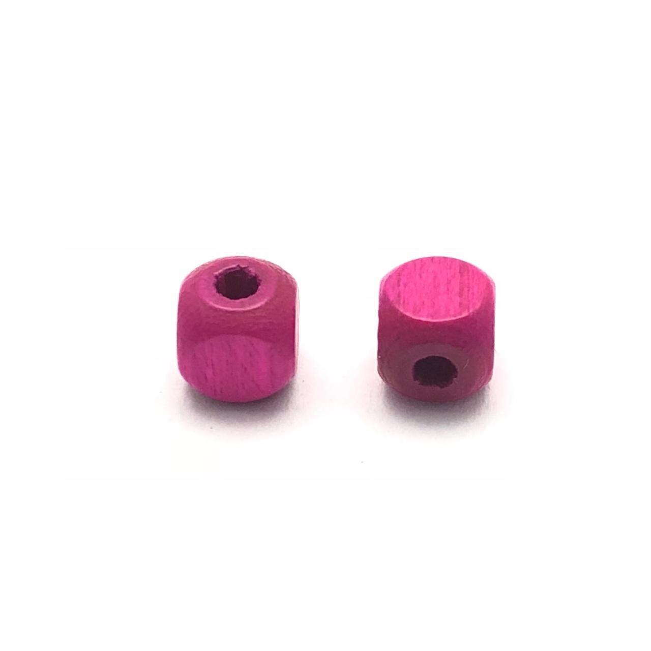 MD12 - Conta de Madeira Preciosa Cubo Pink 5mm - 50unids