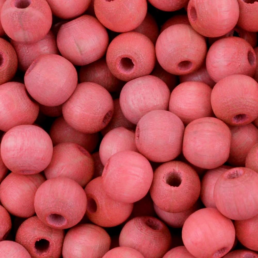 MD17 - Conta de Madeira Preciosa Bolinha Rosa Salmão 6mm - 30unid
