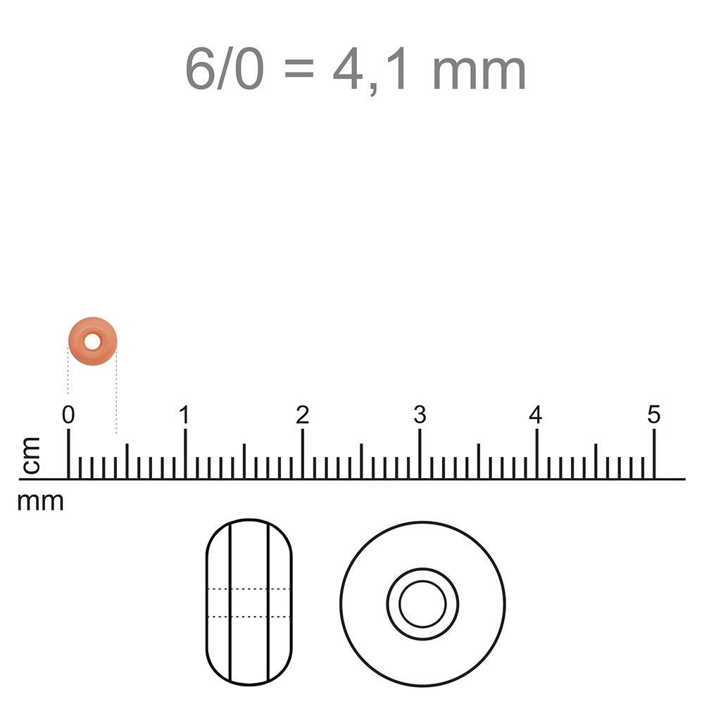 MIC05 - Miçanga Jablonex nº6 Laranja Forte 4,1mm - 10Grs