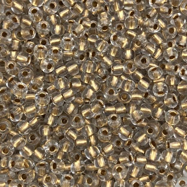 MIC06 - Miçanga Jablonex nº6 Dourado Lined 4,1mm - 10Grs