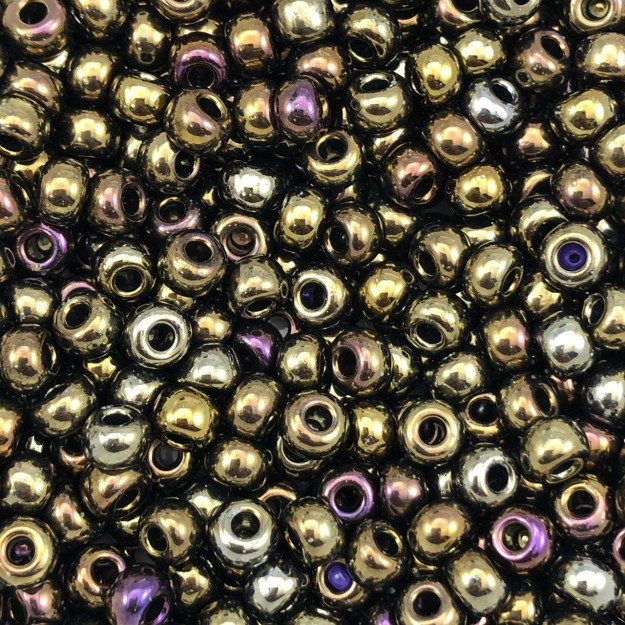 MIC106- Miçanga Jablonex nº2 Bronze Metálico 6,1mm - 10Grs