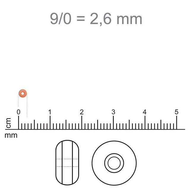 MIC108 - Miçanga Jablonex nº9 Bege Mesclado 2,6mm - 10Grs
