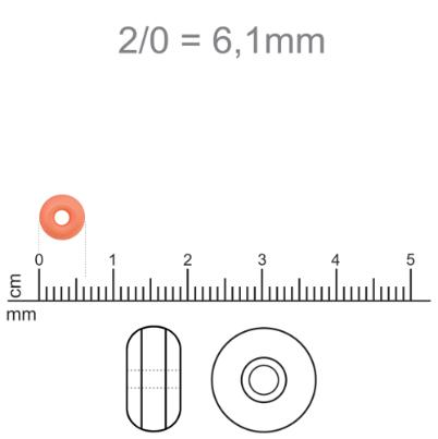 MIC123 - Miçanga Jablonex nº2 Laranja 6,1mm - 10Grs
