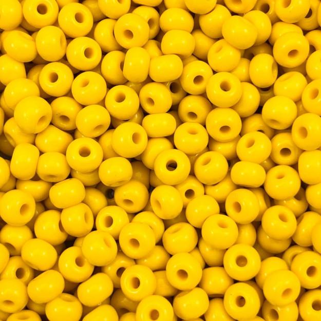 MIC124 - Miçanga Jablonex nº2 Amarelo 6,1mm - 10Grs