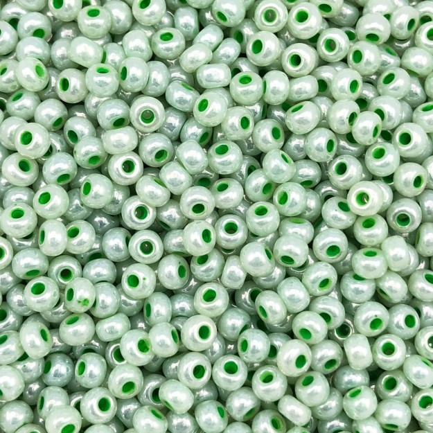 MIC172 - Miçanga Jablonex nº6 Verde Água Perolado 4,1mm - 10Grs