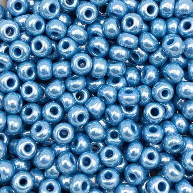 MIC176 - Miçanga Jablonex nº2 Azul Perolado 6,1mm - 10Grs