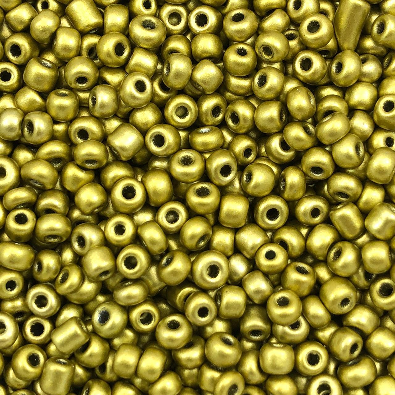 MIC233 - Miçanga Chinesa nº6 Dourado 4,1mm - 10Grs