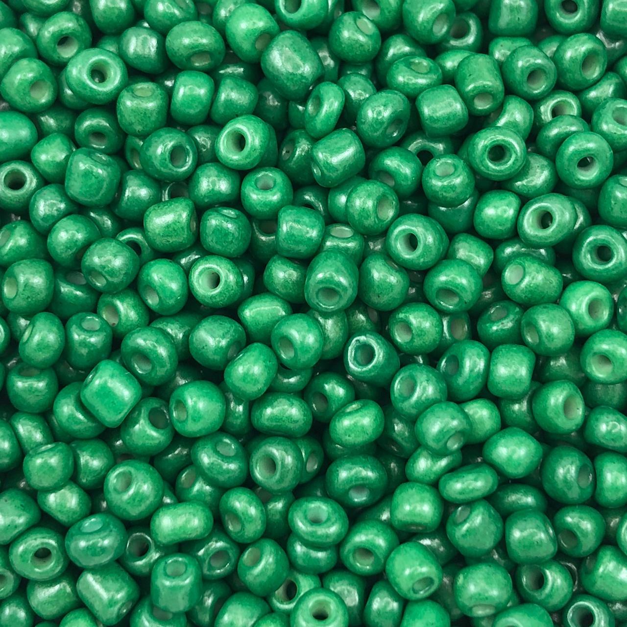 MIC246 - Miçanga Chinesa nº6 Verde Escuro 4,1mm - 10Grs
