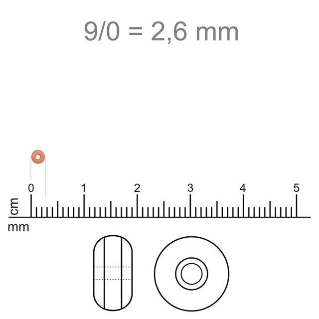 MIC58 - Miçanga Jablonex nº9 Salmão Perolado 2,6mm - 10Grs