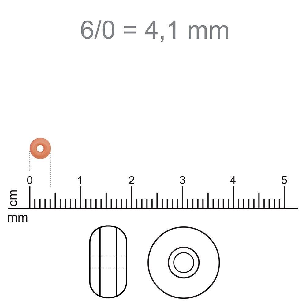 MIC80 - Miçanga Jablonex nº6 Cinza Perolado 4,1mm - 10Grs
