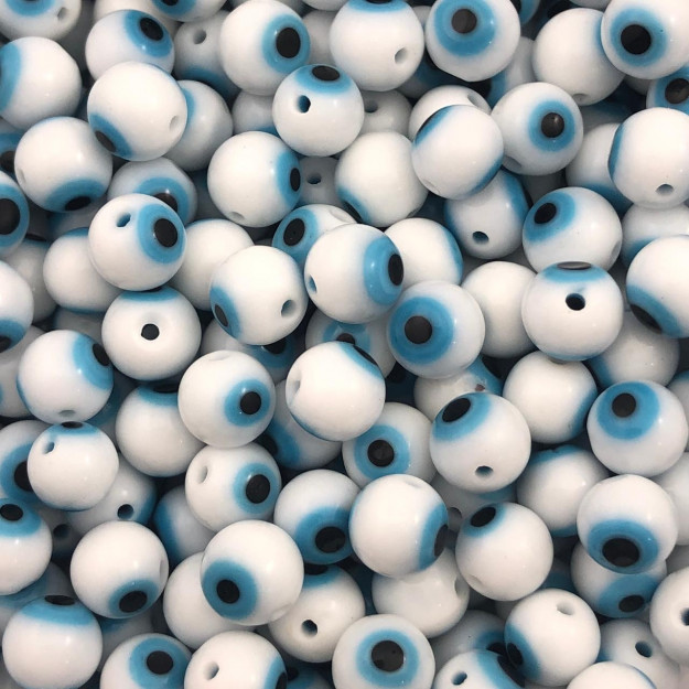 OG05 - Murano Olho Grego Branco 8mm - 12Unids
