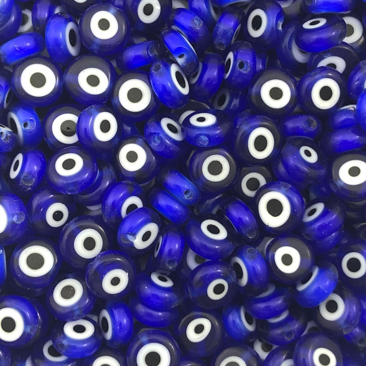 OG07 - Murano Olho Grego Achatado Azul Bic 8mm - 12Unids