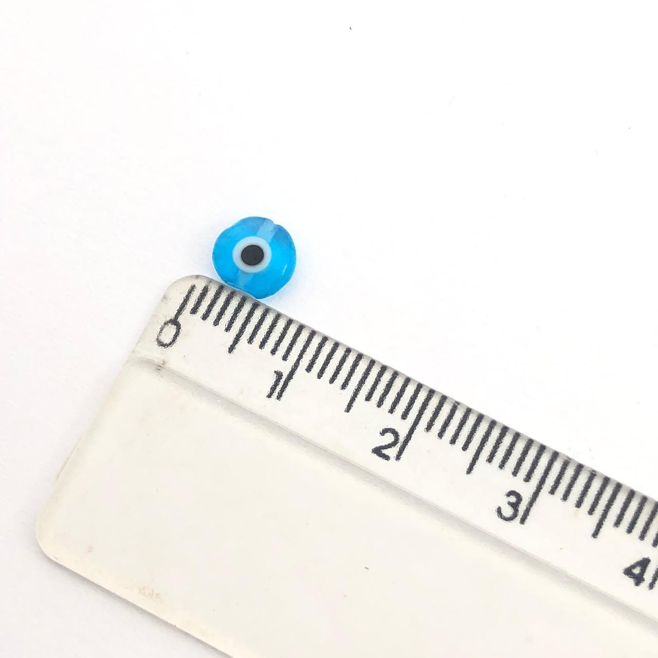 OG08 - Murano Olho Grego Achatado Turquesa 6mm - 12Unids