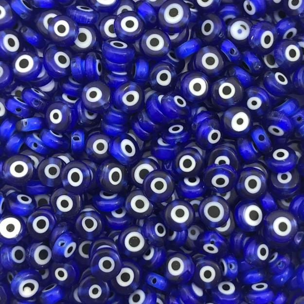 OG09 - Murano Olho Grego Achatado Azul Bic 6mm - 12Unids