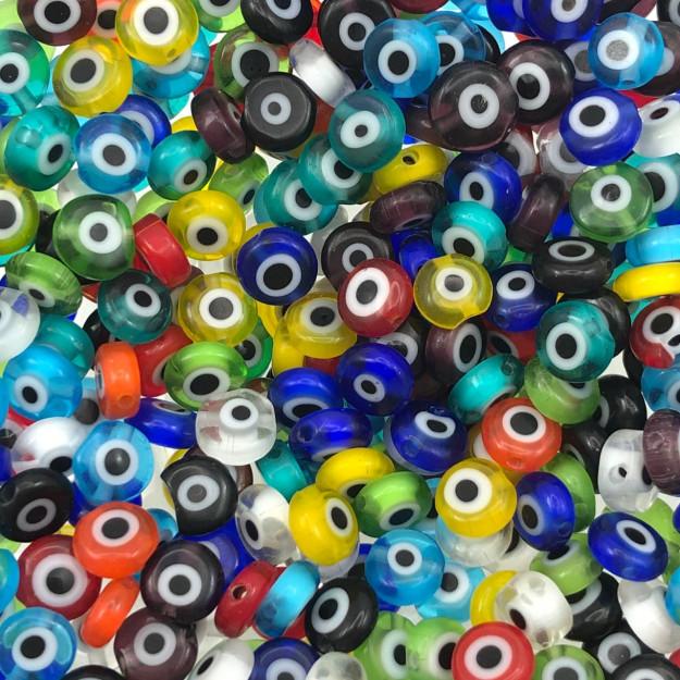 OG10 - Murano Olho Grego Achatado Sortido 6mm - 12Unids