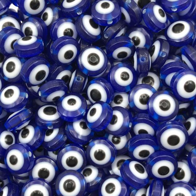 OG14 - Olho Grego em Resina Achatado Azul Bic 8mm - 25Unids