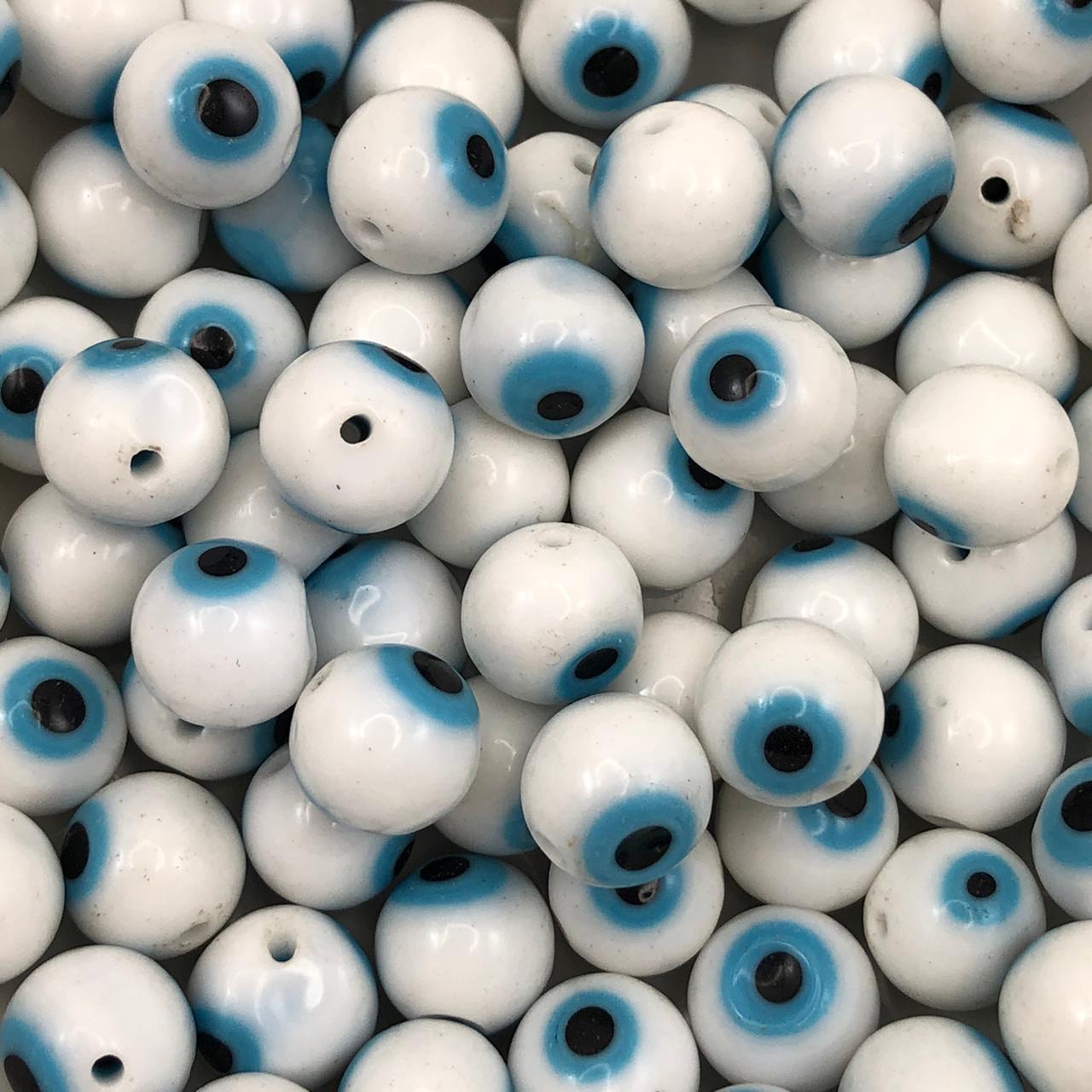 OG18 - Murano Olho Grego Branco 10mm - 12Unids