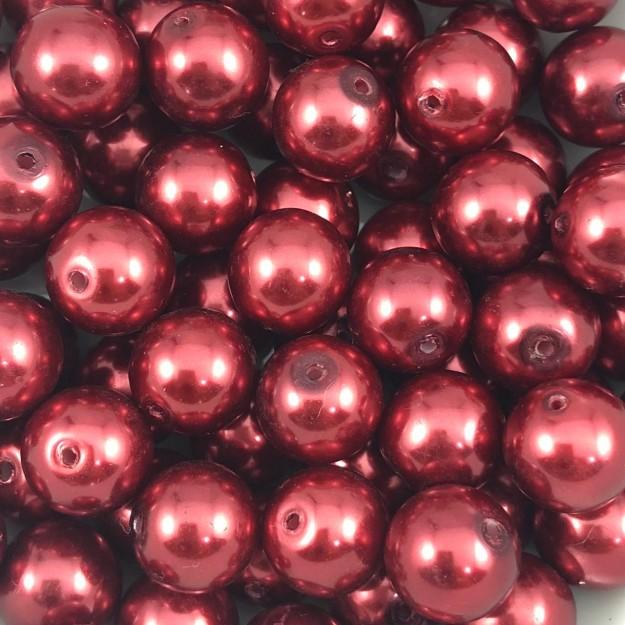 PE101 - Pérola de Vidro Vermelho 12m - 35Unids