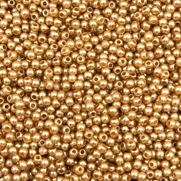 PE113 - Pérola de Resina 3m Ouro Rose - 10Grs